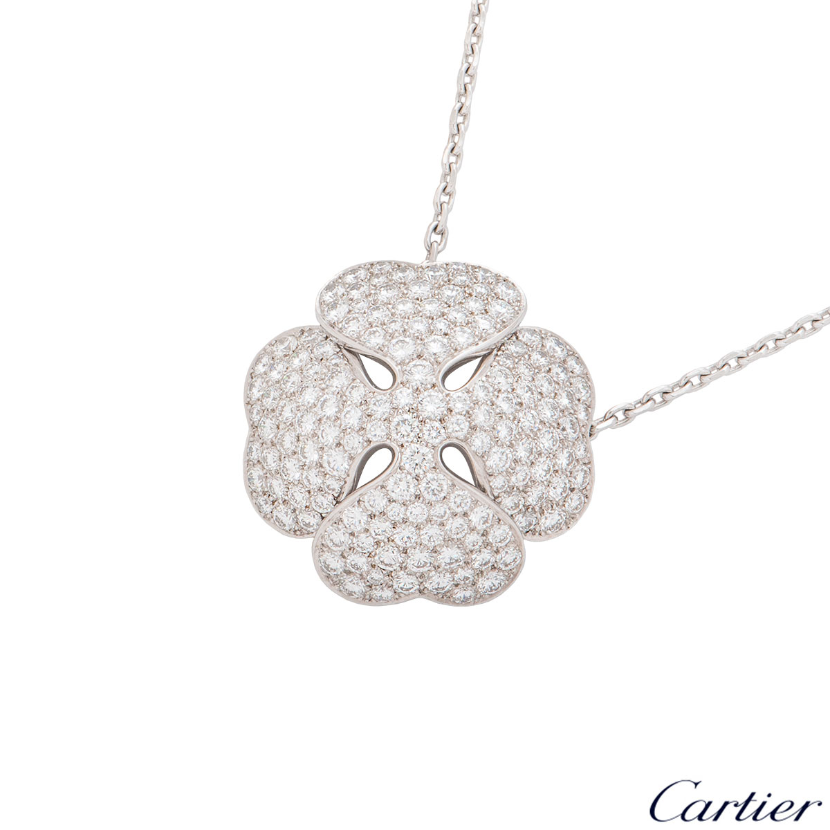 Cartier White Gold Diamond Clover 2001 Necklace